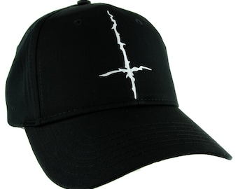 db96dd39e88 White Inverted Cross Cuff Hat Baseball Cap Black Metal Occult -  DYS-HTV-032-WHT-Cap