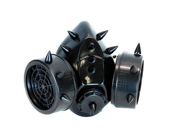Design; Black Devil Horns Rivets Gas Mask Respirator Cyber Goth Cosplay Spikes Masks For Party Halloween Accessories Novel In