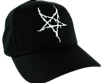 183e1cc0a5de0 White Black Metal Style Inverted Pentagram Hat Baseball Cap Occult -  DYS-HTV-038-WHT-Cap