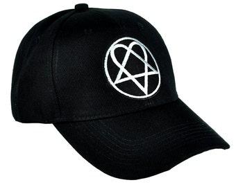 6919bf919a2 HIM White Heartagram Baseball Cap Hat - Dys-PA-337-CAP