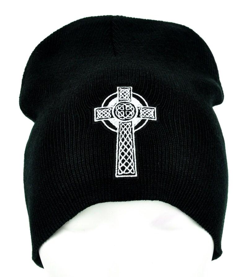 fd7c0b8250f Celtic Cross Tombstone Black Knit Beanie Hat Viking