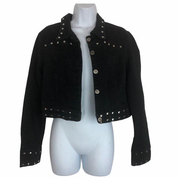 Vintage 90's Lip Service Black Studded Cropped Jac