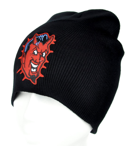 055d4ea8515 Classic Psychobilly Red Devil Black Knit Beanie Hat