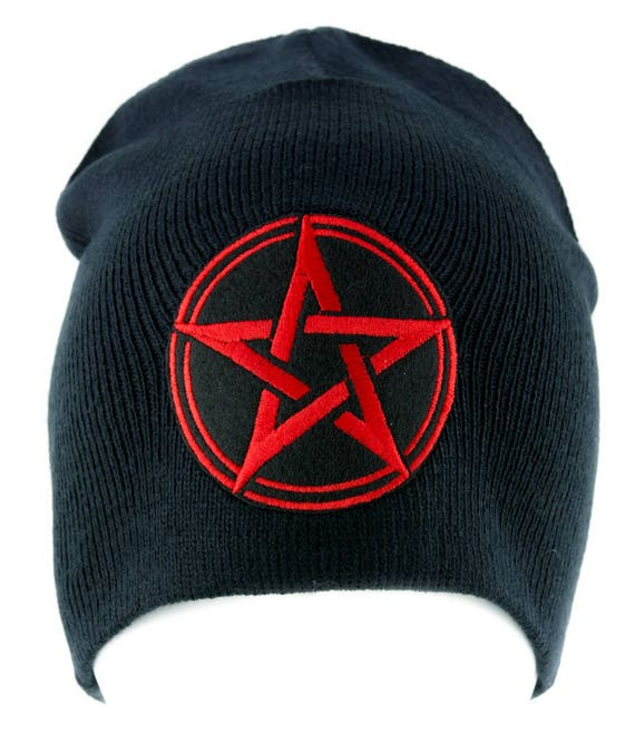 White Unholy Inverted Pentagram Symbol Cuff Beanie Knit Cap Occult Clothing