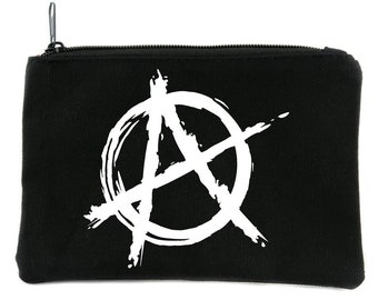 White Anarchy Cosmetic Makeup Bag Pouch Punk Oi Emo Alternative Gothic Accessories - DYS-HTV-030-WHT-Mkbg