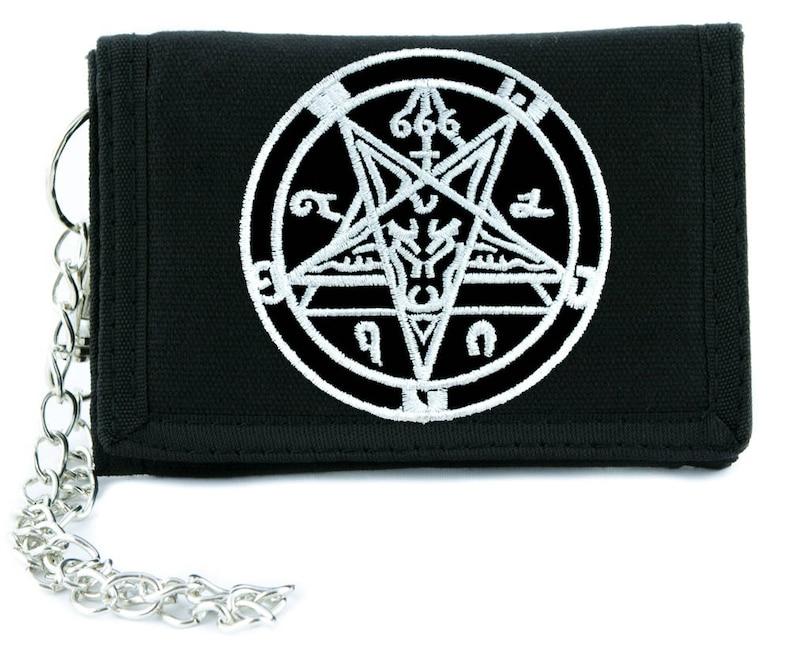 Sabbatic Goat Head Baphomet Pentagram Tri-fold Wallet w// Chain Goth Metal Occult