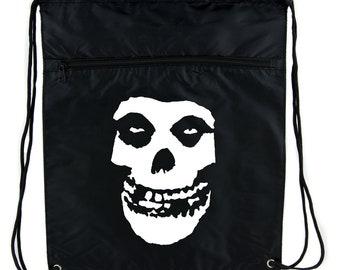 Skeleton Skull Misfits Punk Rock Cinch Bag Drawstring Backpack Goth Emo Horror - DYS-HTV-005-CINBG