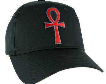 Red Ankh Egyptian Hieroglyph Hat Baseball Cap Alternative Clothing Eternal Life - YDS-EMPA-055-RED-Cap