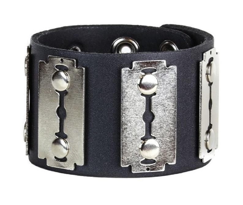 DS-FB201 Silver Razor Blades Black Leather Wristband Bracelet 2 Wide