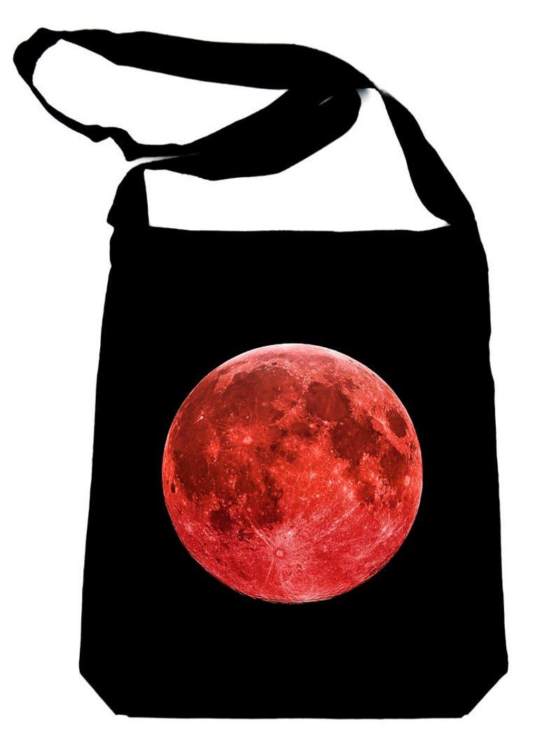 Blood Red Full Moon Tote Book Bag Handbag Lunar Eclipse Witchy Alternative Goth