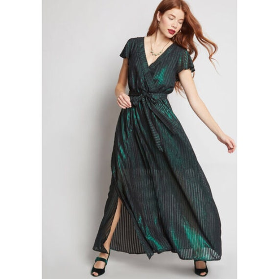 Modcloth Emerald Green & Black Stripe Your Time to