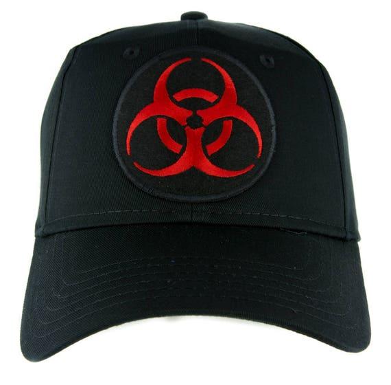 Toxic Red Biohazard Sign Beanie Knit Cap Zombie Apocalypse Cyber Industrial Goth