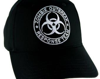 Black Zombie Outbreak Response Team Bio-Hazard Black Baseball Cap Hat - DYS-PA-243-BLK-Cap