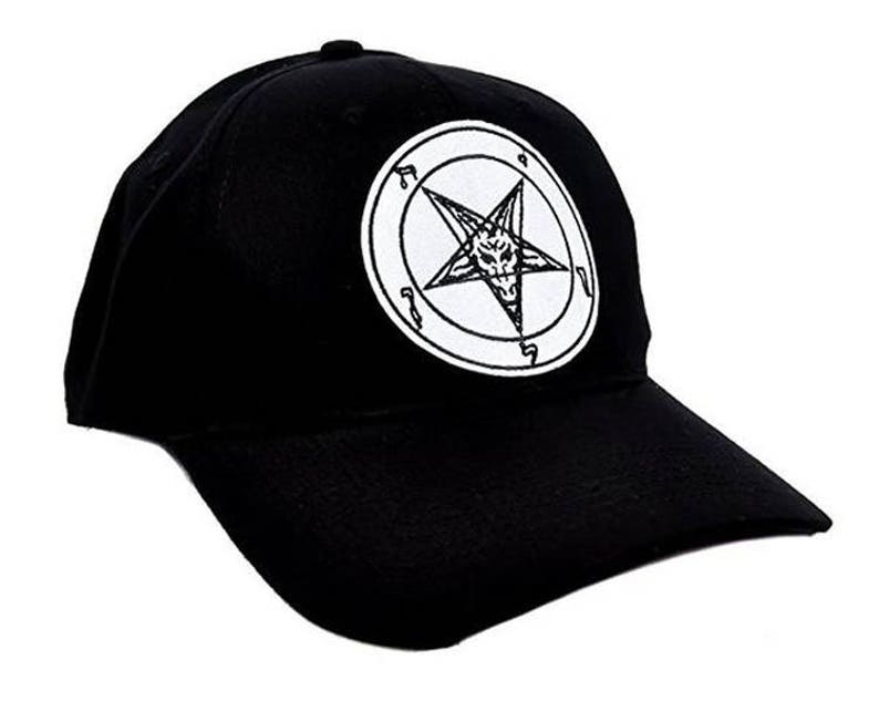 14409ab7bbb White   Black Baphomet Goat Head Inverted Pentagram Hat