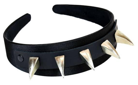 Black   Silver Heavy Metal Claw Spike Hair Headband Hairpiece  f53062b6130