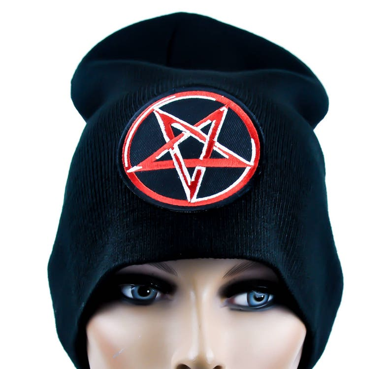 c0180d3fc22 Red Bloody Inverted Pentagram Beanie Knit Cap Occult Clothing