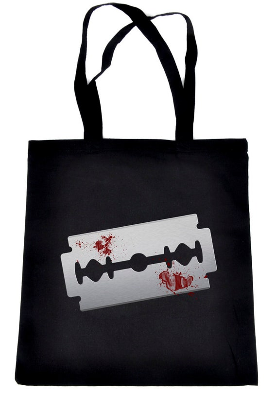 Bloody Razor Blade Tote Bag Book Handbag  Suicide Prevention Awareness Goth Punk