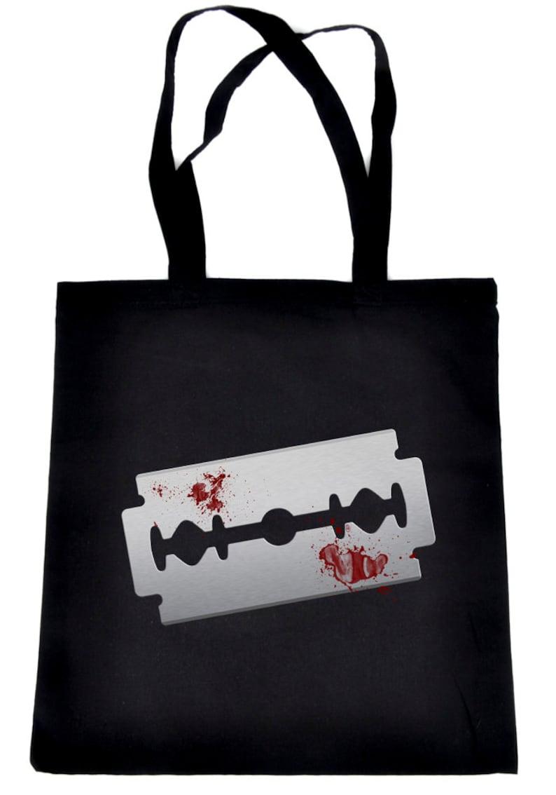 Bloody Razor Blade Tote Bag Book Handbag  Suicide Prevention Awareness DYS-TB-019