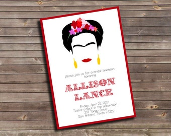 frida kahlo inspired bridal luncheon custom printable invitation