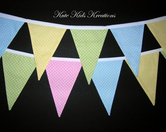 Party Banner, Pastel Polka Dots, Reusable Fabric Banner, Flags, Photo Prop, Ready to Ship