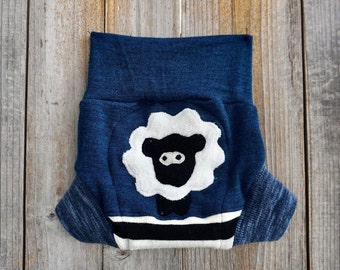 SMALL Upcycled Merino Wool  Longies Soaker Cover Diaper Cover With Added Doubler Black  Navy Blue With Batman  Applique SMALL 3-6M
