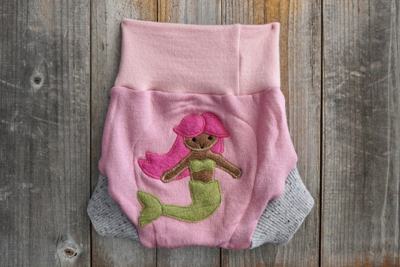 upcycled wool soaker Cloth diaper cover Pink and grey with a music note applique newborn wool shorties with added doubler in the wetzone