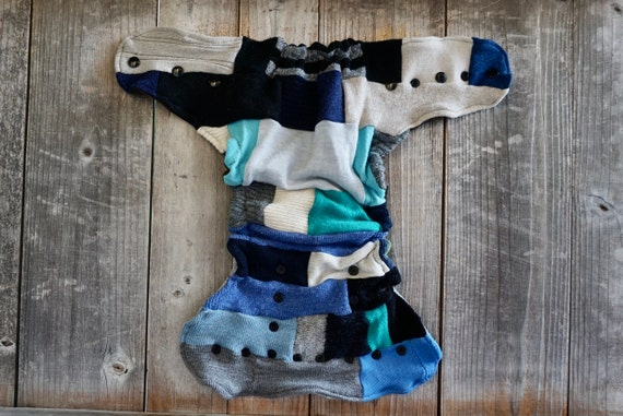 Upcycled Wool Nappy Cover Diaper Wrap Cloth Diaper  One Size Fits Most Crazy Patchwork Scrappy With Star Applique BeigeNavy Blue