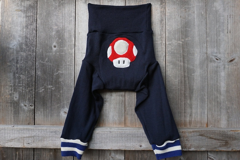 LARGE Upcycled Merino Wool Longies Soaker Cover Diaper Cover With Added DoublerNavy Blue With Super Mario Mushroom Applique L 12-24 Months