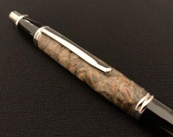Turned Wood Pen - California Buckeye Burl Click Pen with Rhodium and Black Hardware