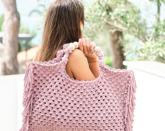 Macrame Hand Made Bag for Women Valentines day gift for her Beach Boho Gift Crochet Tote Unique Gift for Her