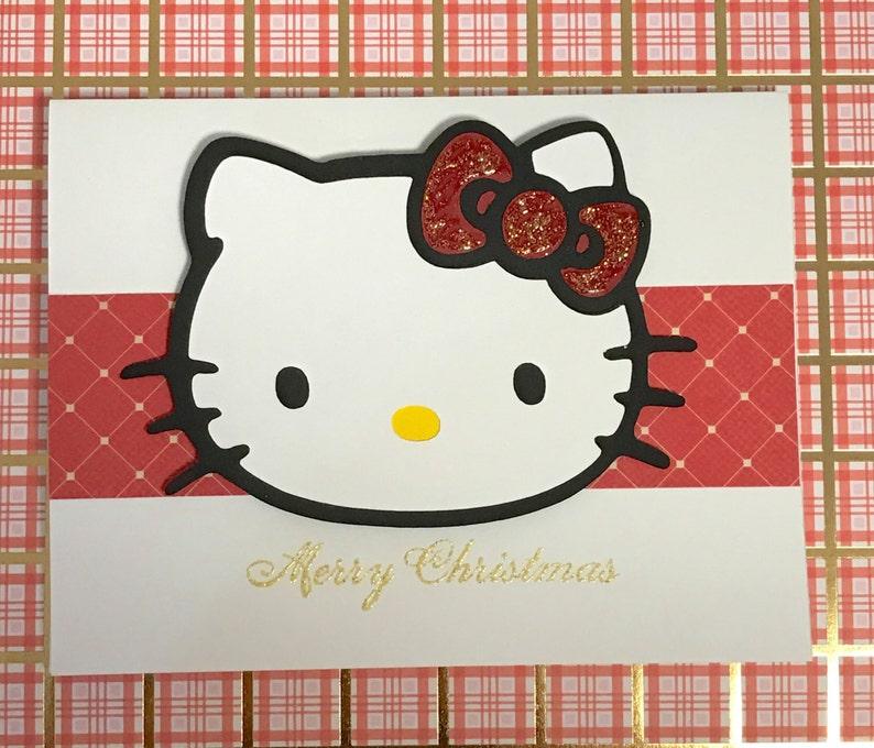 Hello Kitty Merry Christmas.Merry Christmas Sparkly Hello Kitty Greeting Card