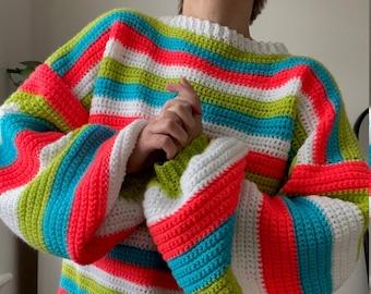Oversized Crochet Jumper in Neon Stripe