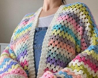 Crochet Cardigan in Summer Pastel Rainbow