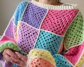 Pastel Battenburg Crochet Square Jumper