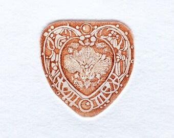 Little Heart colored etching handmade print miniature