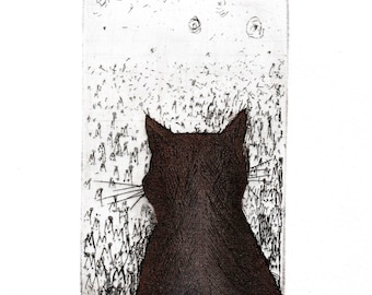 Original Etching and Aquatint 'Personality' about the Cat that feels exceptional.