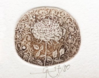 Etching Little Rose small handmade print floral fine art miniature