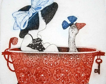 Etching - girl etching - goose etching - goose art - printmaking - fine art etching - original etching - original art - 'Girl in a Bath'