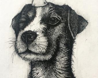Original Etching 'Happy Birthday!' about a cute Dog celebrating a Birthday