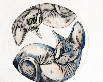 Etching - cat etching - cat art - printmaking - fine art etching - original etching - original art - 'Yin Yang'