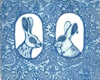 Etching - printmaking - fine art etching - original etching - original art - 'He and She 2'