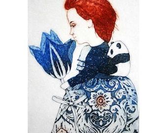 Etching - girl etching - panda etching - panda art - printmaking - fine art etching - original etching - original art - 'Girl with a Panda'