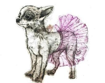 Etching - dog etching - dog art - printmaking - fine art etching - original etching - original art - 'Dog with a Tutu'