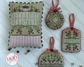 Cross Stitch Pattern, Cranberry Christmas, Christmas Decor, Christmas Ornaments, Cranberries, Holiday Decor, Hands On Design, PATTERN ONLY