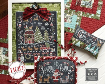 PRE-Order, Holly Jolly Farm, Counted Cross Stitch Pattern, Santa, Reindeer, Chalk Artwork, Farmhouse Decor, Hands On Design, PATTERN ONLY