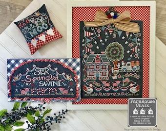 Counted Cross Stitch Pattern, Star Spangled Swine Farm, Chalk Artwork, Patriotic, Americana, Farmhouse Decor, Hands On Design, PATTERN ONLY