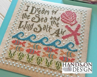 Counted Cross Stitch Pattern, Wild Salt Air, Beach Sampler, Pincushion, Corner Gauge Case, Seashells, Hands On Design, PATTERN ONLY