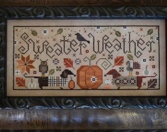 Counted Cross Stitch Pattern, Sweater Weather, Fall Decor, Dachshunds, Primitive Decor, Plum Street Samplers, PATTERN ONLY