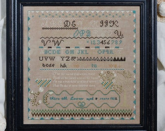 Counted Cross Stitch Pattern, Abra Lowney, 1825, Reproduction Sampler, Colonial  Needlework, Primitive Decor, Erica Michaels, PATTERN ONLY