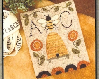 Punch Needle Pattern, Bee Garden, Country Decor, Bee Skep, Sampler, Posies, Summer Decor, Garden, Little House Needleworks, PATTERN ONLY